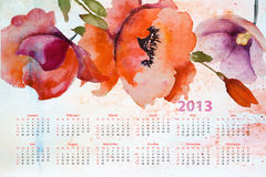 Template for calendar 2013. With beautiful flowers Stock Image