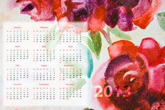 Template for calendar 2013. With roses flowers Royalty Free Stock Photo