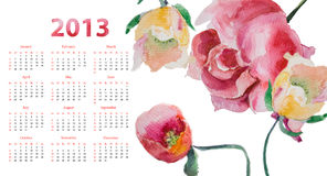 Template for calendar 2013. Decorative flowers Stock Image