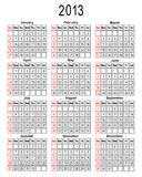 Template for calendar 2013. You can easily change background. Vector illustration Stock Photography