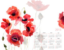 Template for calendar 2013. With poppy flowers Stock Image