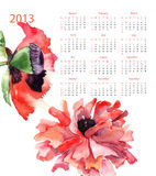 Template for calendar 2013. With poppy flowers Stock Photography