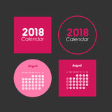 Template of calendar for August 2018 Stock Photography