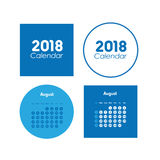 Template of calendar for August 2018 Royalty Free Stock Images