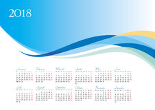 Template of 2018 calendar on blue background Stock Images