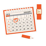 Template of the calendar with clock Stock Image