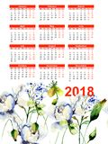 Template for calendar 2018 with decorative wild flowers. Watercolor illustration Royalty Free Stock Images