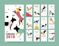 Template calendar 2017 with a dog in Memphis style. Dog symbol of Chinese New Year. 12 illustrations of birds with different geometric ornaments in the style Royalty Free Stock Image