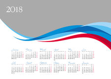 Template of 2018 calendar on gray background Royalty Free Stock Images