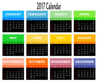 Template of 2017 calendar isolated on white. Stock Photography