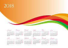 Template of 2018 calendar on orange background Stock Image