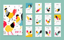 Template calendar 2017 with a rooster in Memphis style. Rooster symbol of Chinese New Year. 12 illustrations of birds with different geometric ornaments in the vector illustration