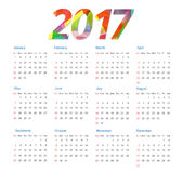 Template of calendar 2017 year. Modern colorful background Royalty Free Stock Image
