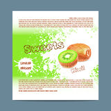 Template candy packaging. Kiwi sweets. Royalty Free Stock Image