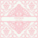 Template card with abstract baroque royal background in pink and white colors. Stock Images