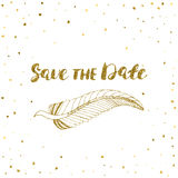 Template for card, banner, flyer, save the date invitation , birthday party, with golden feather. Stock Image