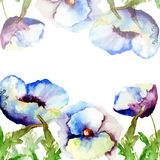 Template for card with blue flowers Royalty Free Stock Image