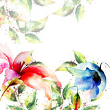 Template for card with decorative summer flowers Stock Image