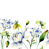 Template for card with decorative wild flowers Stock Photo