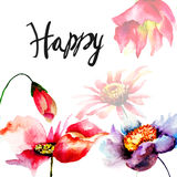 Template for card with flowers and title Happy Royalty Free Stock Image