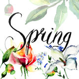 Template for card with flowers and title Spring Stock Images