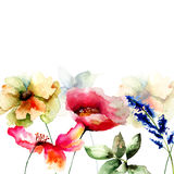 Template for card with flowers Stock Images