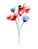 Template for card with flowers Royalty Free Stock Image