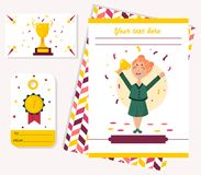 Template card with girl holding winning trophy. T. Ags, badges with golden goblet, medal Stock Photo