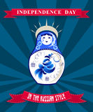 Template card for Independence Day in Gzhel Royalty Free Stock Images