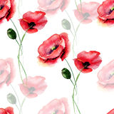 Template for card with with Poppy flower. Seamless pattern with Poppy flower, watercolour illustration Royalty Free Stock Photo