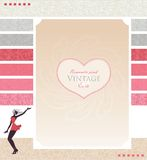 Template for card or site design with girl. Stock Images