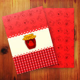 Template of card with strawberry jam Royalty Free Stock Photos