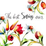 Template for card with title the best Spring ever Royalty Free Stock Images