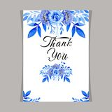 Template card watercolor blue floral, frame wedding invitation stock illustration