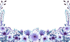 Template Card With Watercolor Blue And Violet Flowers Royalty Free Stock Photos