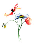 Template for card with wild flowers. Watercolor painting Stock Image