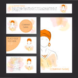 Template cards and banners with woman in turban Stock Photos