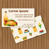 Template for cards or booklets on mexican food Stock Photos