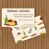 Template for cards on cartoon italian food theme Stock Photo