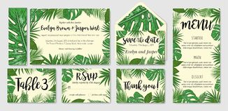 Template cards set with watercolor palm leaves; wedding design f. Template cards set with watercolor various palm leaves; wedding design for invitation, Rsvp Royalty Free Stock Images