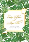 Template cards set with watercolor palm leaves; wedding design f. Template cards set with watercolor various palm leaves; wedding design for invitation, Rsvp Stock Images