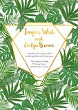 Template cards set with watercolor palm leaves; wedding design f. Template cards set with watercolor various palm leaves; wedding design for invitation, Rsvp Stock Photos