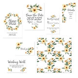 Template cards set with watercolor pink flowers illustrations Stock Images