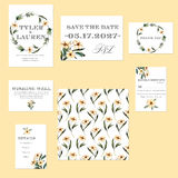 Template cards set with watercolor pink flowers illustrations Royalty Free Stock Photography