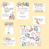 Template cards set with watercolor rowan tree and other autumn tree branches Royalty Free Stock Photo