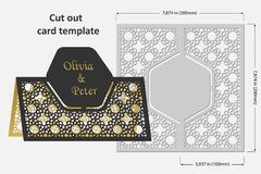 Template cards to cut. Topper. Use for congratulations, invitations, presentations, weddings. Vector illustration Stock Image