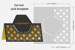 Template cards to cut. Topper. Use for congratulations, invitations, presentations, weddings. Vector illustration Stock Images