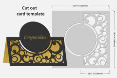 Template cards to cut. Topper. Use for congratulations, invitations, presentations, weddings. Vector illustration Stock Photography