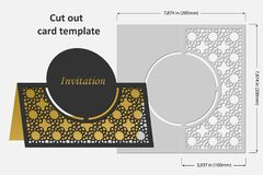 Template cards to cut. Topper. Use for congratulations, invitations, presentations, weddings. Vector illustration Royalty Free Stock Images