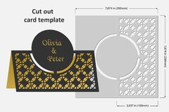 Template cards to cut. Topper. Use for congratulations, invitations, presentations, weddings. Vector illustration Royalty Free Stock Photography